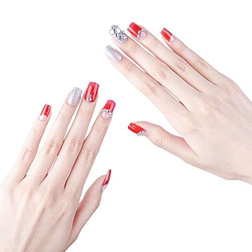 Limeo Falsche Nägel Silber Gefälschte Nägel Falsche Nägel Gefälschte Falsche Nägel Gefälschter Nagel Silber Falsche Nagel-Spitzen Künstliche Gefälschte Nägel Nägel Lange Design(Insgesamt 24 Teile)