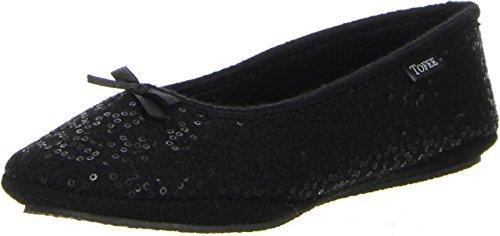TOFEE Damen Hausschuhe Ballerinas schwarz, Größe:38, Farbe:Schwarz