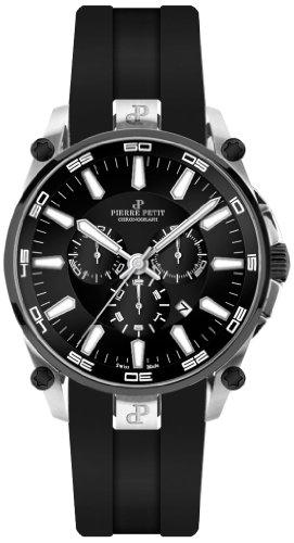 Pierre Petit - P-817A - Montre Homme - Quartz - Chronographe - Chronomètre - Bracelet Silicone Noir