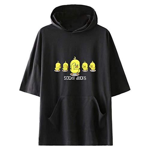 LILICAT Damen Mode Freizeit Rundhals T-Shirt Lässig Sommer Tops Täglichen Cartoon Print Kurzarm Hoodie T-Shirt Taschen Bluse Lose...