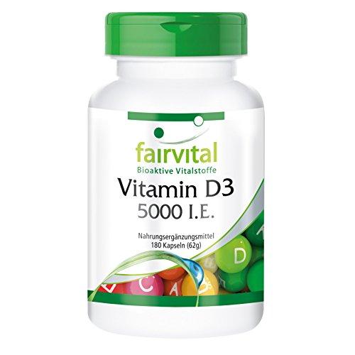 fairvital vitamin d3 Vitamin D3 5000 I.E - GROSSPACKUNG - HOCHDOSIERT - 180 Kapseln - alle 5 Tage 1 Kapsel - Cholecalciferol