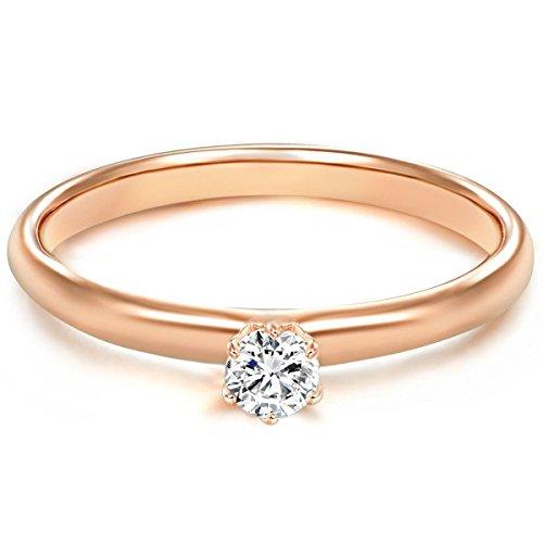 Tresor 1934 Annelli da Donna / Anello di fidanzamento / Solitario in Argento Sterling 925 dorato oro rosa Zircone bianco 60451009