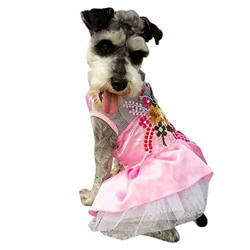 JKRTR Haustier Hund Frühling Sommer 2019,Atmungsaktiv Bestickt Satin Flower Pet Rock(Rosa,XXL) -