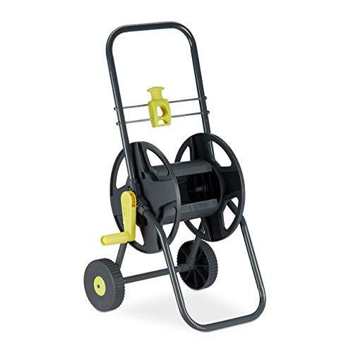 Relaxdays Schlauchwagen 45m, fahrbare Schlauchtrommel für Garten & Balkon, mit Schlauchführung, 76,5x44x41 cm, grau-gelb