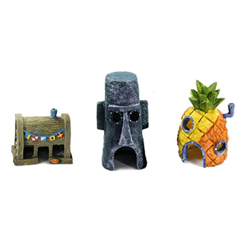 Machinyesity 3 in 1 design unico fish tank aquarium ornaments sponge bob serie decorazione simulazione resina craft casa ananas multicolore