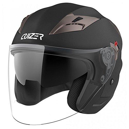 CRUIZER - Casco jet omologato di colore nero opaco, con doppia visiera, interno amovibile e lavabile, estrattori di aria calda sul retro (L)