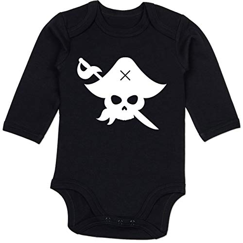 Shirtracer Karneval und Fasching Baby - Pirat Kostüm Fasching - 12-18 Monate - Schwarz - BZ30 - Baby Body Langarm (Kostüm Karneval Baby)