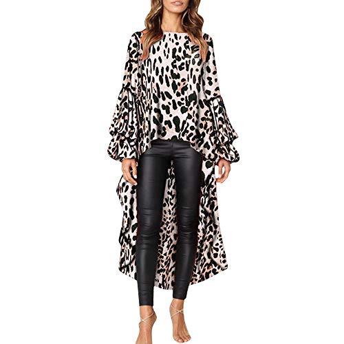 Rawdah_Camisetas Mujer Manga Larga Originales Fiesta Blusas Elegantes Mujeres Leopardo Volantes Camisa Manga Larga Suéteres Camiseta Blusa S