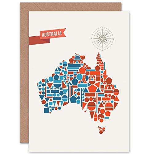 Wee Blue Coo LTD Australia Geometric MAP Shapes Birthday Gift BLANK Greetings Card