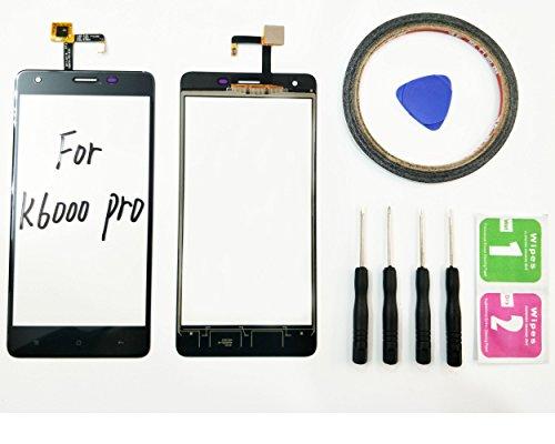 JRLinco Für Oukitel K6000 Pro (Ohne LCD) Outer Glas Lens Touch Panel Bildschirm Touchscreen Ersatzteil Für Oukitel K6000 ProSchwarz + Werkzeuge & doppelseitigen Kleber + Alkohol Reiniger Paket Glas Pro Lcd