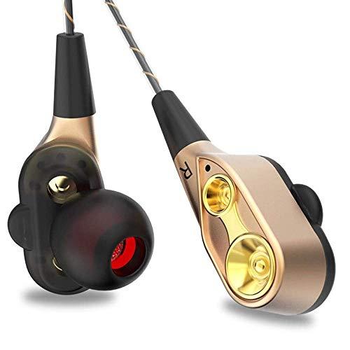 opfhörer In Ear Sport V4.2 HiFi Schwere Bässe Dual Dynamic Sport Ohrhörer mit 10 Meter Reichweite, eingebautes Mikrofon für iPhone, Huawei und Samsung (Gold) ()