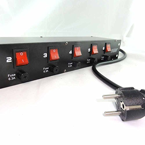 Preisvergleich Produktbild Dyntronic GmbH 6-fach 19' Strom Verteiler Power Manager Steckdosenleiste mit Einzelsicherung