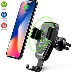 Chargeur sans Fil Voiture, Chargeur de Rapide à Induction Grille d'Aération Porte-téléphone, 10W pour Samsung Galaxy S10/S9/S9+/Note 9/S8/S8+/Note 8/iPhone X/XR, 5W for iPhone X/iPhone 8/8 Plus