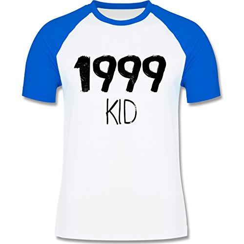 Geburtstag - 1999 KID - zweifarbiges Baseballshirt für Männer Weiß/Royalblau