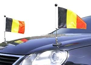 Couple Porte-drapeau de voiture Diplomat-1.30 Belgique à adhésion magnétique