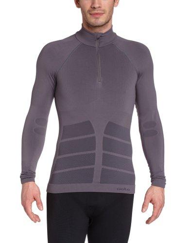 Odlo Evolution Warm Herren-Shirt mit Kragen und Reißverschluss ohne Naht grau - Castlerock/black