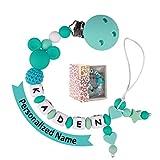 Schnullerkette mit Namen Jungen, Mädchen Baby Zahnen Silikon Selber Machen für Kinder Geschenk zur Geburt, Taufe, Babyparty (turquoise)