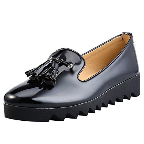 hengfeng-scarpe-in-pelle-nappa-piatta-winklepicker-39-eu-nero