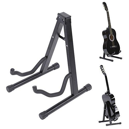 Stand per chitarra, leran pieghevole universale cornice per chitarra acustica acustica basso liuto, supporto per strumenti musicali professionali (nero)