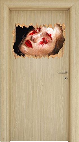 Stil.Zeit Frau mit roten Puder Pinsel Effekt Holzdurchbruch im 3D-Look, Wand- oder Türaufkleber...