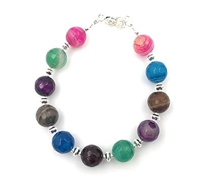 Bracelet en argent et agate veinée multicolore