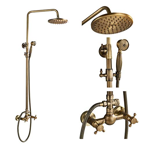 Wladimirowitsch Rosin Messing antik Badezimmer 2Kreuz Regler Mixer Dusche Combo Set-Regendusche Kopf mit Hand Spray