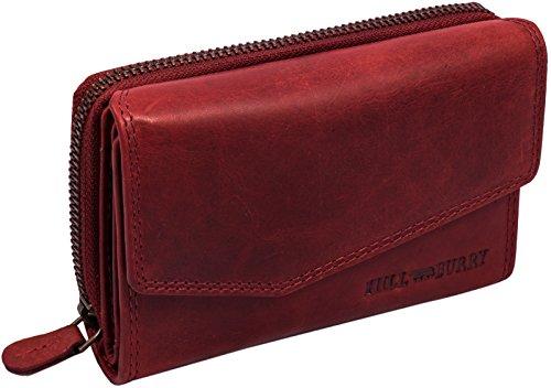 Hill Burry Damen Geldbörse | Kompakt & XXL - viel Platz - Used Look - echt Leder Portemonnaie (Rot)