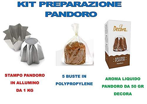 Casa dolce casa kit pandoro artigianale natale - kit n°16 cdc (1 stampo pandoro da 1 kg,1 aroma decora gusto pandoro, 5 buste in polypropylene cast 35 my 320 x 435)