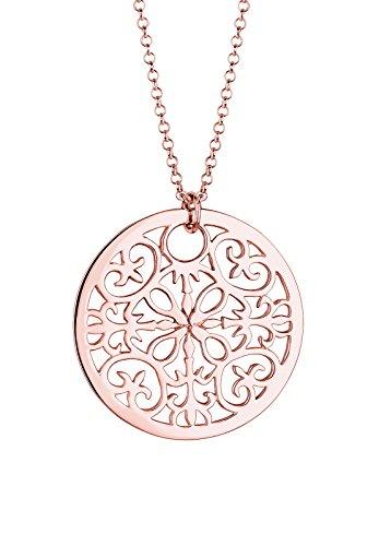 Elli Damen Schmuck Halskette Kette mit Anhänger Münze Basic Glamour Ornament Cut Out Silber 925 Rosé Vergoldet Länge 70 cm
