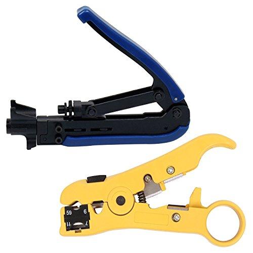 cozroom Strom Set mit RG59RG6RG11Kabel F-Kompression Werkzeug Verstellbare Blau und Schwarz mit Universal Cutter/Stripper für Flach oder rund TV/UTP Kabel gelb - Utp-terminal