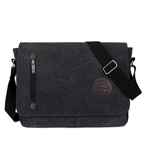 Umhängetaschen Herren Arbeitstaschen Businesstasche Flugbegleiter Tasche Herren Damen Laptoptasche Schultertasche für Laptop A4 Ordner Arbeit Uni Reise Sport (Black)