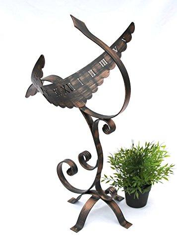 Sonnenuhr Phönix aus Schmiedeeisen Wetterfest 65 cm Gartenuhr Metall Phoenix Uhr