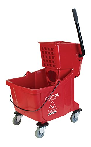 Carlisle 3690805 Mop Bucket with Side Press Wringer, 26 Quart / 6.5 Gallon, Red