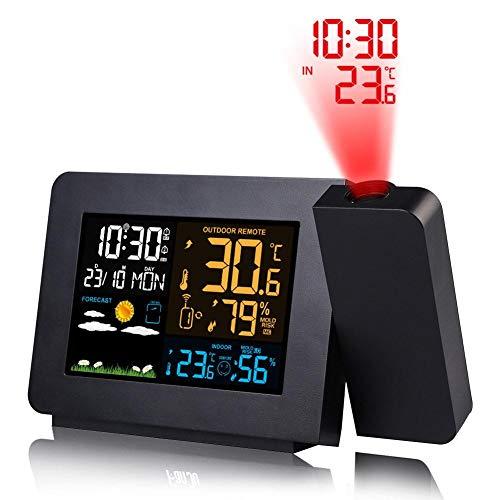 Cherishly Multi-Funktions-Projektionswecker - Farbbildschirm-Wettervorhersage Elektronische, Digitale, dimmbare Projektionsladung für Innen- und Außentemperatur-Feuchtigkeitsmessgerät
