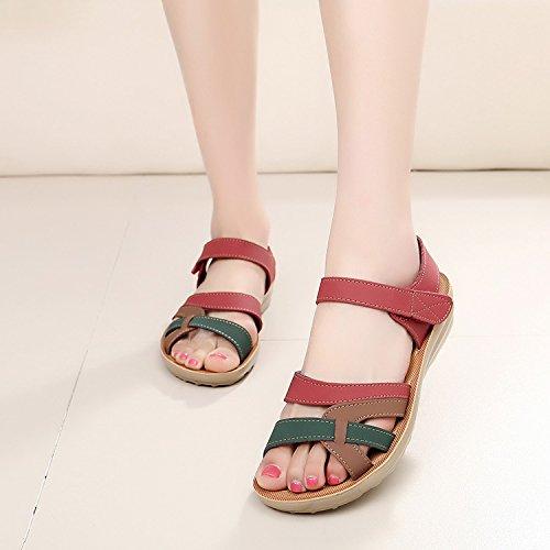 Sommer Damen Mode Sandalen komfortable High Heels, 37 schwarz Red