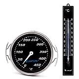 Lantelme 7273 Grillzubehör Set mit Edelstahl Grillgitter und Kunststoff Gartenthermometer - Grillthermometer und Außenthermometer Analog