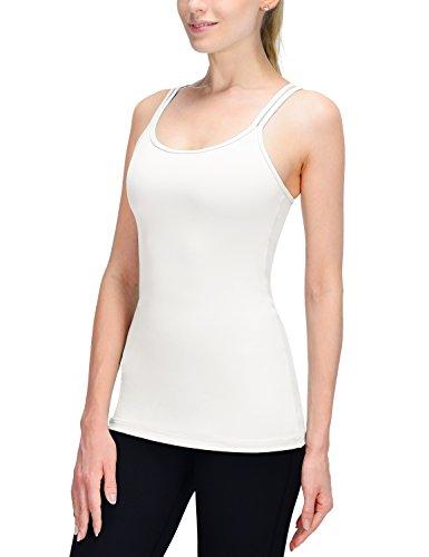 Baleaf Damen Yoga Cami Tank Top Unterhemd Mit Sport BH Bustier X-Rücken Weiß Größe S Sport-bh Dance Girls
