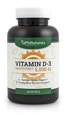 Vitamin D3   5,000 IU 240 Softgel Caps from Phi Naturals