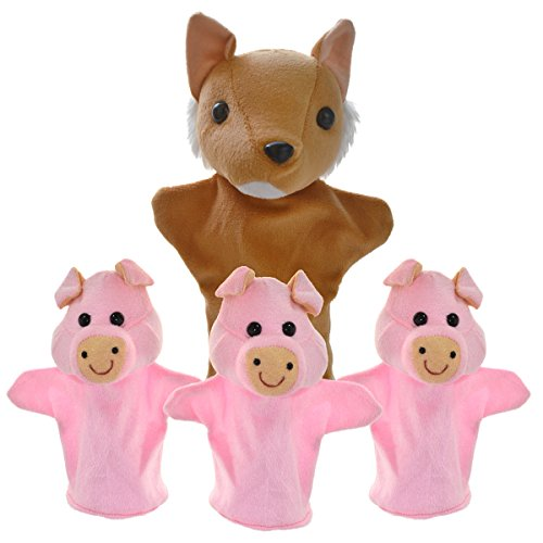 Cuddly Toys Three Pigs and Wolf Storytelling Hand Puppets Set For Kids
