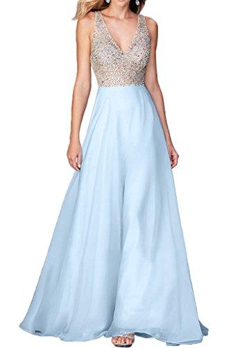 Gorgeous Bride Fashion V-Ausschnitte Rueckenfrei Lang Chiffon Tuell Lang Abendkleider Ballkleider Prom Kleider Himmelblau