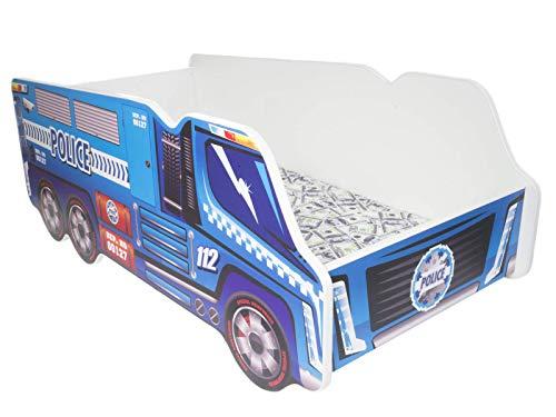 Cama para niños con diseño de camión, colchón incluido Police Truck