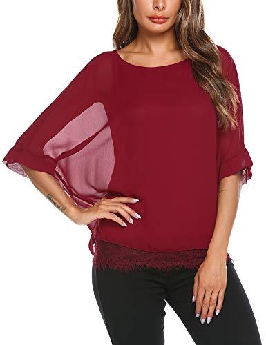 Parabler Damen Chiffon T-Shirt Kurzarm Batwing Fledermaus Loose Fit Shirt Tunika Bluse, Weinrot, EU 36/ S