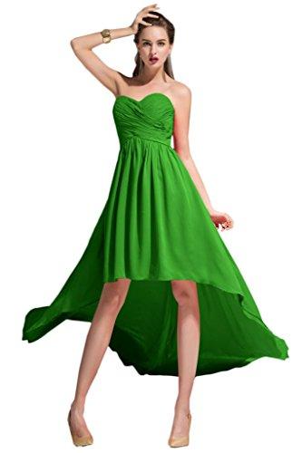 Sunvary elegante Chiffon Prom ad alta/bassa, vestiti, imbottito decorato con strisce di tessuto pieghettato Verde mela