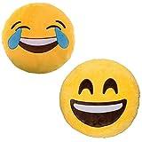 JZK 2 x Cojín Emoji Sonrisa + cojín Emoji Sonrisa Llorando,Almohada Emoji Emoticon Relleno Suave Juguete de Peluche