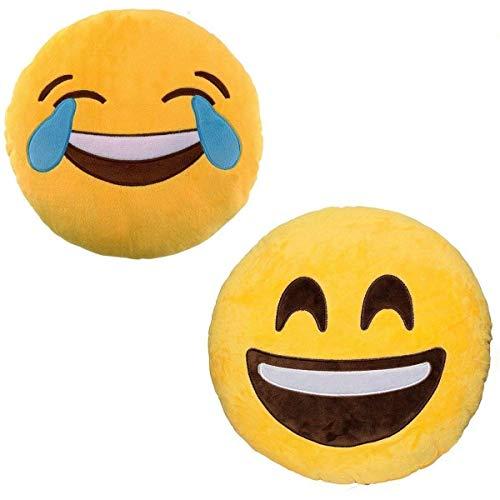 "Emoji - Smile Plush + Laughing Crying Plush - 2 Emoji cushions - 32cm 12"""