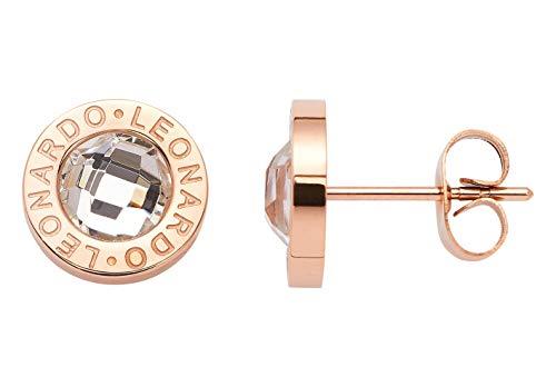 JEWELS BY LEONARDO Damen Ohrstecker Matrix aus Edelstahl Ohrschmuck klassisch elegant mit Kristall-Glas, rosé-gold