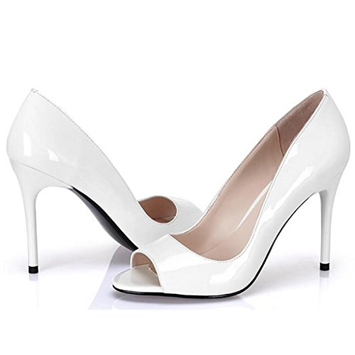 W&LMScarpe di bocca di pesce sandali Aprire il piede Tacco alto Bocca poco profonda Scarpe singole Scarpe da donna professionali white 10cm