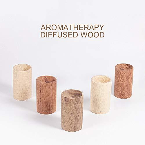 YETE 5Pcs Tragbarer Diffusor aus ätherischem Holz | Hergestellt aus natürlichen Protokollen, Handgefertigte Aromatherapie Diffus | Kirschholz/Palisander/Gold Teak/Schwarznussbaum/Buche