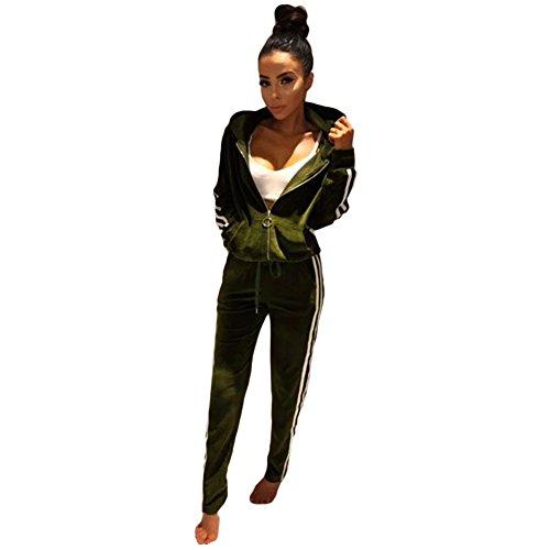Romacci Femme Ensemble Ssportwear Rayure Hoodie Manches Longues Sweat-shirts à Capuche Pantalons Casual Elastique Vert
