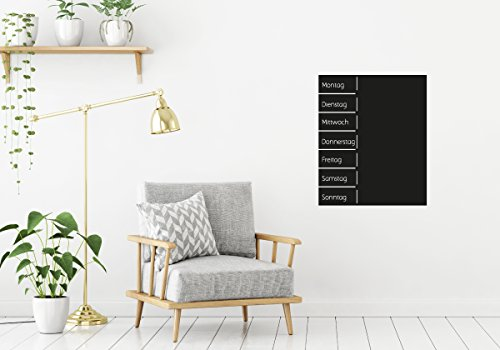 Wochenplaner Wand Sticker aus selbstklebender Tafelfolie /Wandaufkleber Terminplaner Tafel schwarz